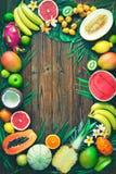 Assortiment des fruits tropicaux avec des feuilles des palmiers et de l'exot Photographie stock