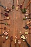 Assortiment des haricots et des lentilles dans la cuillère en bois Images libres de droits