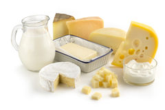 Assortiment des produits laitiers Image libre de droits
