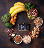 Assortiment die van voedsel magnesium bevatten Royalty-vrije Stock Fotografie