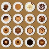 Assortiment différent d'illustration de vecteur de collection de vue supérieure de tasses de café Images stock