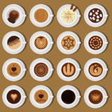 Assortiment différent d'illustration de vecteur de collection de vue supérieure de tasses de café Images libres de droits