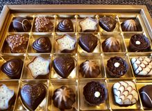 Assortiment of fine Swiss chocolate stock images