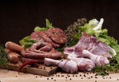 Assortiment frais de viande de coupe de boucher Image stock