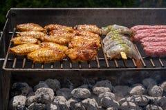 Assortiment mélangé de viande, de poulet, et de crevettes roses marinés grillant sur les charbons chauds sur un BBQ photos stock