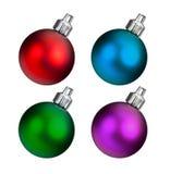 Assortiment multicolore des ornements de Noël d'isolement sur le fond blanc Image stock