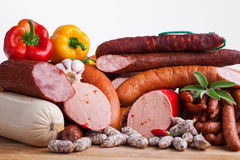 Assortiment of sausages Royalty Free Stock Photo