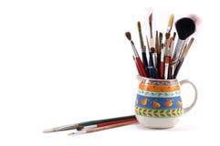 Assortiment van artistieke borstels Stock Foto's