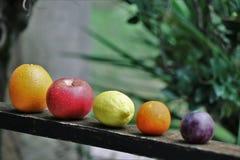 Assortiment van biologisch, vers, seizoengebonden fruit royalty-vrije stock fotografie