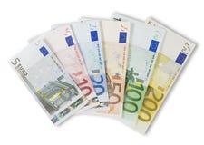 Assortiment van Euro bankbiljetten. Stock Foto