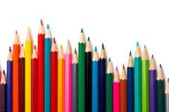 Assortiment van gekleurde potloden Stock Fotografie