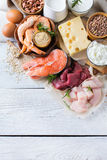 Assortiment van gezond eiwit bron en lichaams de bouwvoedsel Stock Afbeeldingen