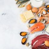 Assortiment van gezonde vitamine B12, cobalamin bronvoedsel royalty-vrije stock afbeelding