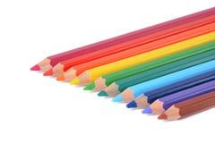 Assortiment van kleurpotloden over wit Royalty-vrije Stock Foto's