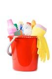 Assortiment van middelen om schoon te maken stock afbeeldingen