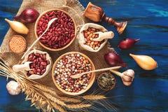Assortiment van nierboon, maïs, pompoenzaden, linzen, royalty-vrije stock foto's