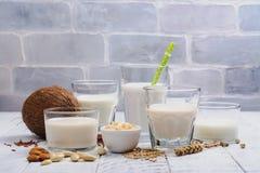 Assortiment van niet zuivelveganistmelk en ingrediënten royalty-vrije stock afbeeldingen