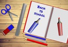 Assortiment van schoollevering, terug naar schoolconcept Royalty-vrije Stock Afbeeldingen
