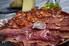 Assortiment van Spaans koud vlees stock afbeelding