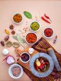 Assortiment van Thaise voedsel Kokende ingrediënten en Deeg van Thaise po stock foto's