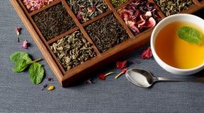 Assortimento asciutto del tè in scatola di legno Immagine Stock Libera da Diritti