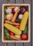 Assortimento degli ortaggi freschi in una scatola di legno immagini stock