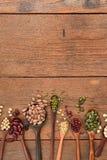 Assortimento dei fagioli e delle lenticchie in cucchiaio di legno Immagine Stock Libera da Diritti