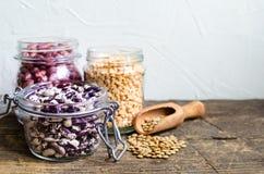 Assortimento dei fagioli e delle lenticchie organici asciutti Fotografia Stock