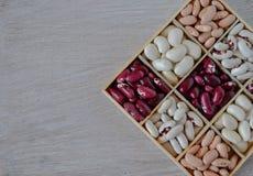 Assortimento dei fagioli in scatola di legno Fotografia Stock Libera da Diritti