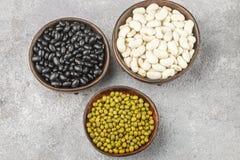 Assortimento dei fagioli secci - bianchi, neri e verdi Immagine Stock Libera da Diritti