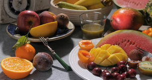 Assortimento dei frutti freschi, sani, organici Fotografie Stock Libere da Diritti