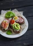 Assortimento dei panini - panini con formaggio, il ravanello, il cetriolo, l'uovo di quaglia, l'avocado ed il salmone affumicato Fotografie Stock Libere da Diritti