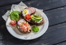 Assortimento dei panini - panini con formaggio, il ravanello, il cetriolo, l'uovo di quaglia, l'avocado ed il salmone affumicato Immagini Stock Libere da Diritti