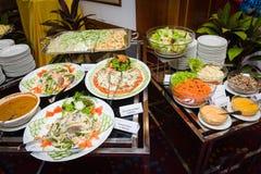 Assortimento dei piatti dell'insalata Fotografia Stock
