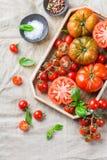 Assortimento dei pomodori rossi dell'agricoltore organico maturo su una tavola Immagine Stock Libera da Diritti