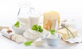 Assortimento dei prodotti lattier-caseario Immagini Stock