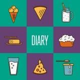 Assortimento dei prodotti lattier-caseario, composizione quadrata illustrazione vettoriale