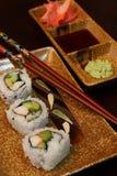 Assortimento dei sushi e dei condimenti Fotografia Stock Libera da Diritti
