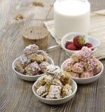 Assortimento del cereale dei fiocchi di frumento Fotografia Stock Libera da Diritti