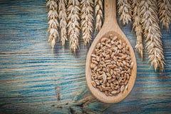 Assortimento del cucchiaio di legno del grano della segale dei grani dorati delle orecchie su legno Immagine Stock Libera da Diritti