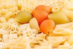 Assortimento del fondo della pasta del primo piano italiano dei maccheroni di generi differenti Immagine Stock