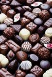 Assortimento del fondo fine dei dolci delle caramelle di cioccolato Copi lo spazio Vista superiore Fotografie Stock