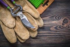 Assortimento del legame di cavo molle dei guanti di sicurezza del cuoio del pruner del giardino Fotografie Stock Libere da Diritti