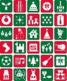 Icone rosse e verdi di Natale Fotografie Stock Libere da Diritti