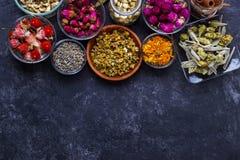 Assortimento del tè asciutto del fiore Fotografie Stock