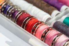 Assortimento della bobina del cotone Fotografia Stock