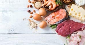 Assortimento della fonte sana della proteina e dell'alimento del body building Immagini Stock Libere da Diritti