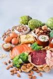 Assortimento della fonte sana della proteina e dell'alimento del body building Immagini Stock