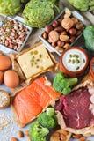 Assortimento della fonte sana della proteina e dell'alimento del body building Immagine Stock Libera da Diritti