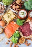 Assortimento della fonte sana della proteina e dell'alimento del body building Fotografia Stock